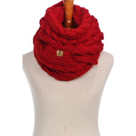 Knitted Cable Scarf (Basico Women Winter Chunky Knitted Infinity Scarf Warm Cable Loop Various)