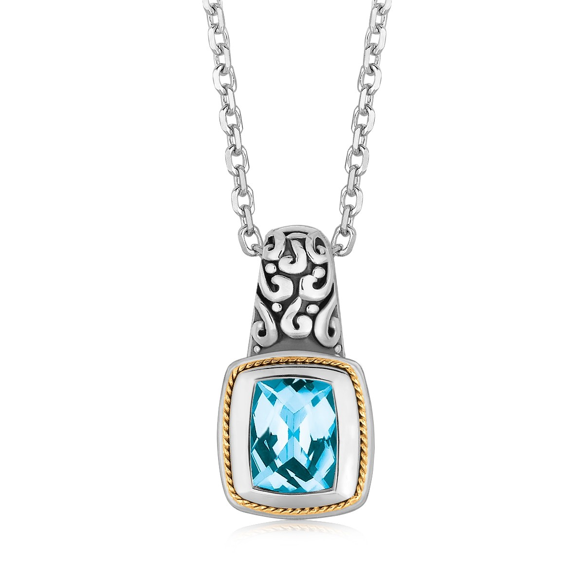 """18K Yellow Gold and Sterling Silver Necklace with Milgrained Blue Topaz Pendant 18"""" by Mia Diamonds"""