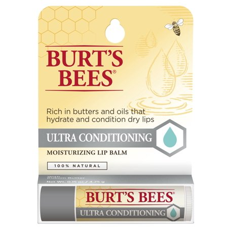 Burt's Bees 100% Natural Moisturizing Lip Balm, Ultra Conditioning with Kokum Butter, 1 Tube in Blister