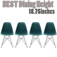 2xhome Set of 4 White Mid Century Modern Vintage Molded Shell Assembled Chairs Chrome Wire Metal Eiffel Side Armless No Arms With Back DSW for Desk Work Office Dining Living Kitchen Bedroom