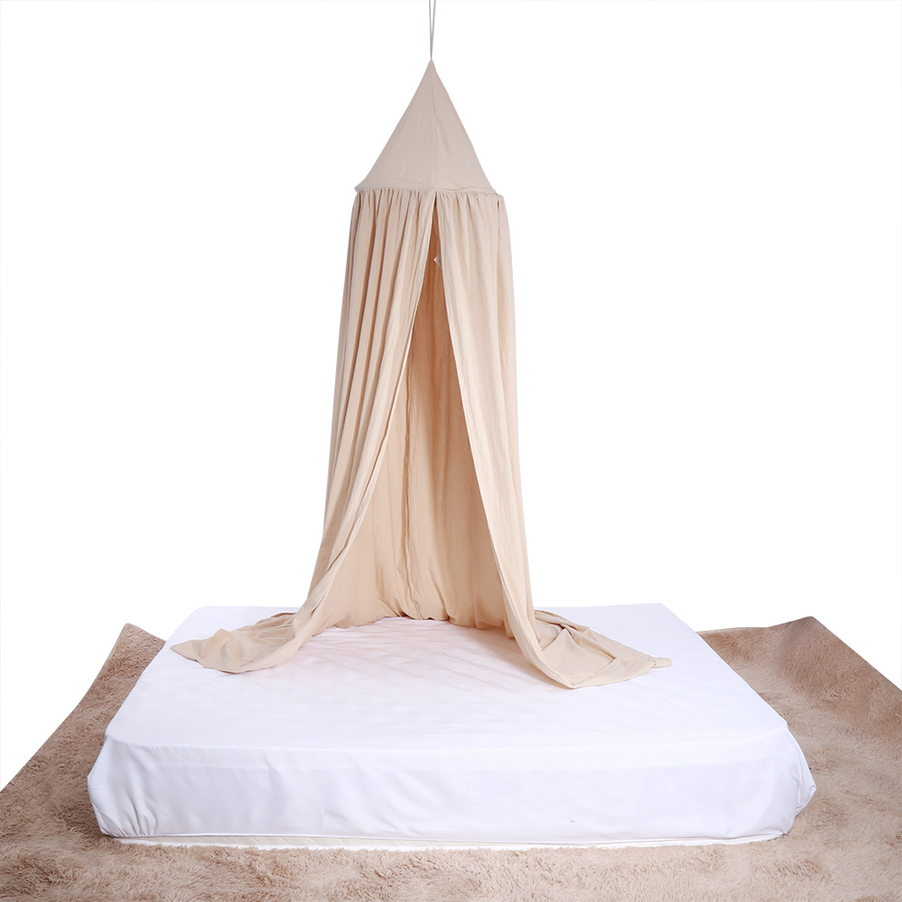 Knifun Hanging Bed Canopy Drapery Crown Portable Cotton Mosquito Net Bed Netting Stand Tent for Single to King Size Baby Kids Adult Beds and Easy Installation, Round Dome Play Tent, 7.7ft