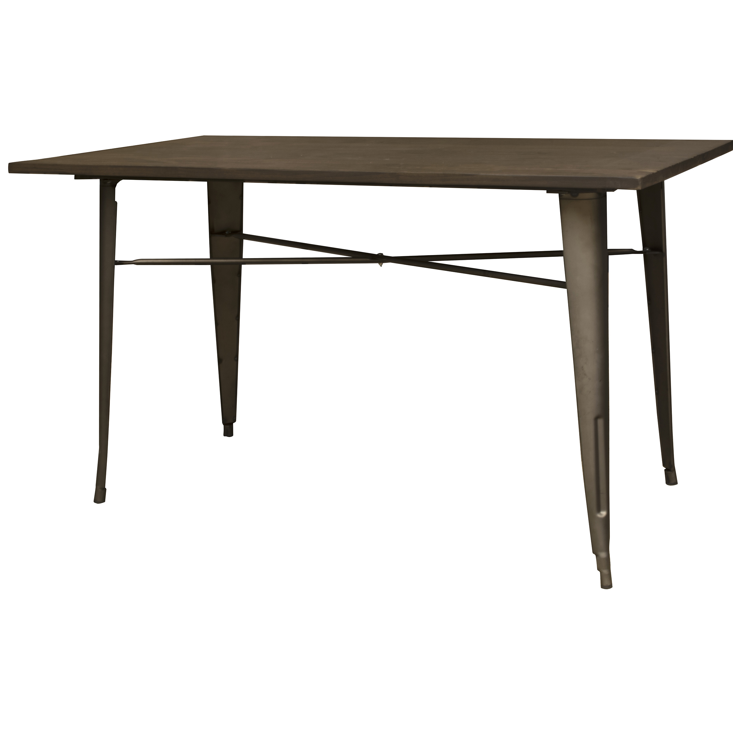 AmeriHome Loft Rustic Gunmetal Metal Dining Table with Wood Top