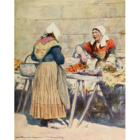 Brittany 1912 Vegetable market Quimper Canvas Art - Mortimer Menpes (24 x 36)