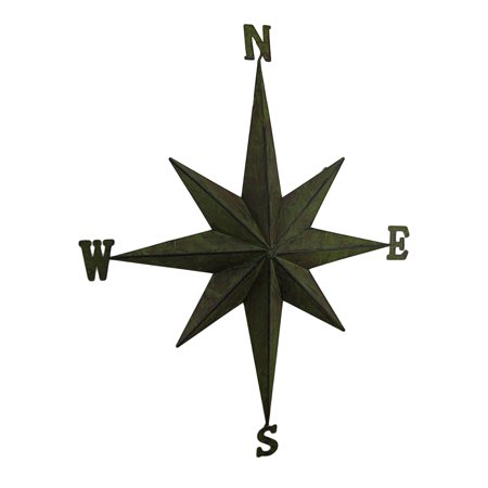 Weathered Finish Compass Rose Decorative Metal Wall Hanging (Blue Metal Rose)