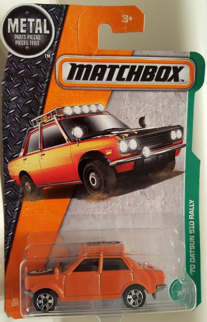 2017 MBX Explorers '70 Datsun 510 Rally 94 125, Orange, 1:64 scaled die-cast vehicle. By... by