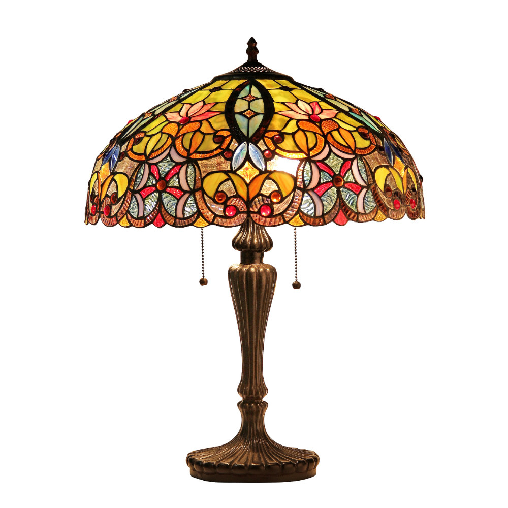 "Chloe Lighting Libby Tiffany-Style 2-Light Victorian Table Lamp with 18"" Shade"
