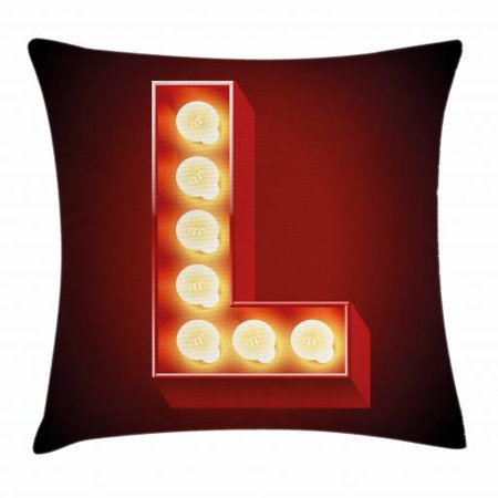 Letter L Throw Pillow Cushion Cover, Vintage Nightclub Disco Old Times Typography Entertainment Party Theme, Decorative Square Accent Pillow Case, 16 X 16 Inches, Vermilion Yellow Black, by Ambesonne