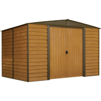 ARROW WR108 WOODRIDGE SHED, 10 x 8 ft, Steel Shed with Wood Finish for Outdoor Storage