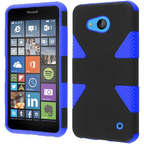 Insten Dynamic Hard Hybrid Shockproof Rubber Coated Silicone Cover Case For Microsoft Lumia 640 - Black/Blue