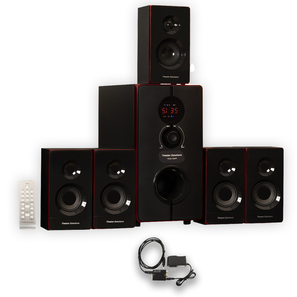 Theater Solutions TS516BT Home Theater Bluetooth 5.1 Speaker System with Optical Input