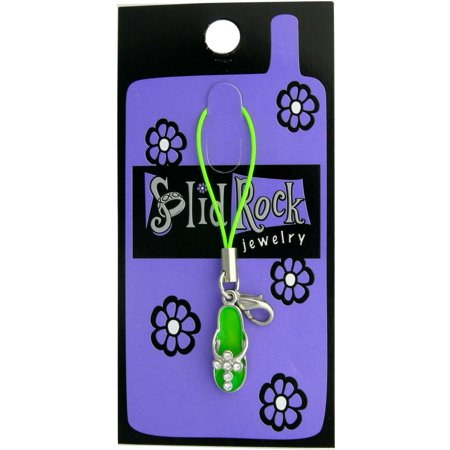 Jewelry Cell Phone - Cell Phone Strap-Green Sandal-Cross w/Crystals