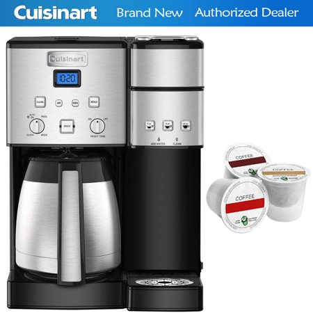 Cuisinart SS-20 Coffee Center 10-Cup Thermal Single-Serve Brewer Coffeemaker Silver (SS-20) with Victor Allen Colombian Single Serve Brew Cups of Coffee 3 K-Cups
