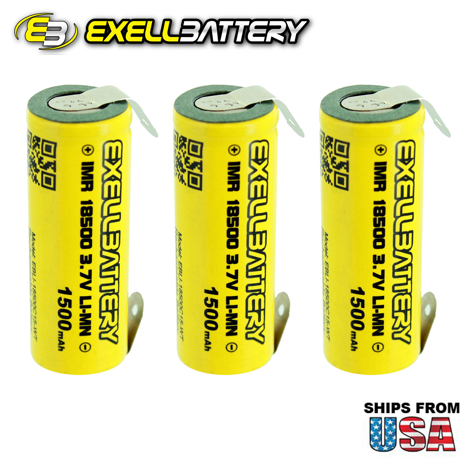 3pc IMR 18500 3.7V LiMN 1500mAh Rechargeable Battery w/ Solder TABS USA SHIPPING