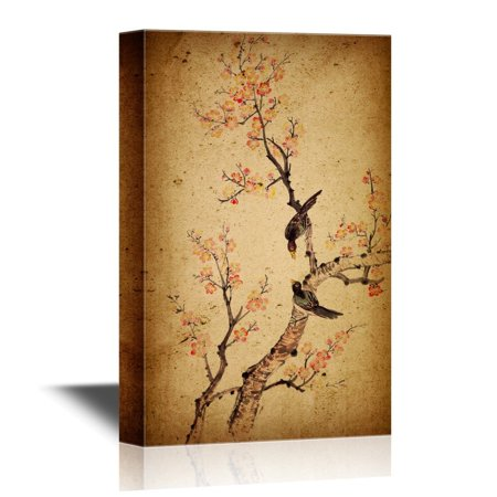 wall26 Canvas Wall Art - Traditional Chinese Painting of Flowers, Plum Blossom and Two Birds on Tree - Gallery Wrap Modern Home Decor | Ready to Hang - 24x36 inches