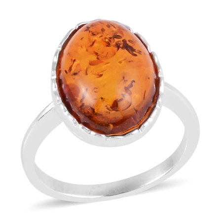 Solitaire Ring 925 Sterling Silver Oval Amber Boho Handmade Jewelry for Women