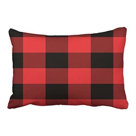 WinHome Decorative Rustic Red and Black Buffalo Check Plaid Throw Pillow Case Size 20x30 inches Two - Red Black Buffalo