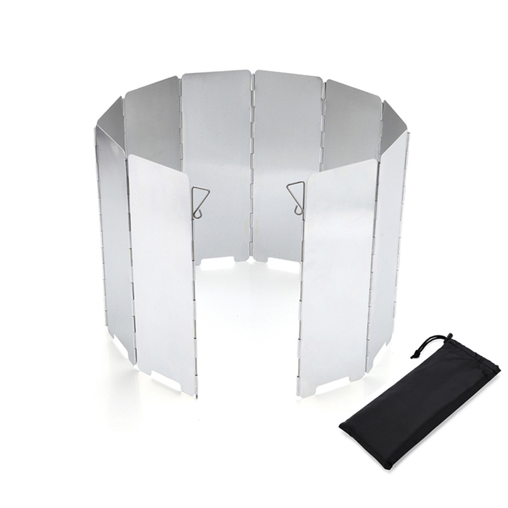 9 Plates Wind Deflectors Foldable Outdoor Campings Gas Stove Wind Shield ScreMIL
