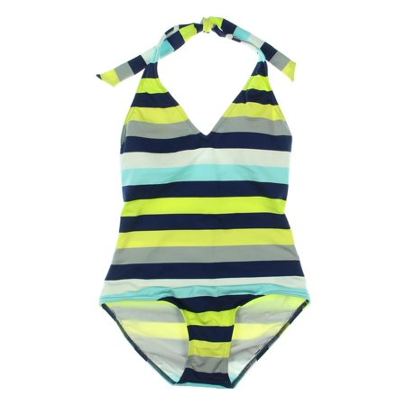 Jag Womens Striped Halter One-Piece Swimsuit