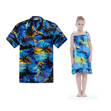 26c85bac010 Matching Father Daughter Hawaiian Dance L-uau Shirt Elastic Dress Sunset  Blue 2XL-10 - Walmart.com
