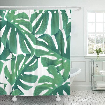 PKNMT Colorful Tropical Palm Leaves Floral in Hawaiian Creative Made of Green Flat Lay Bathroom Shower Curtain 66x72 inch