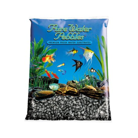 Pure water pebbles aquarium gravel 25 pound black frost for Walmart fish gravel