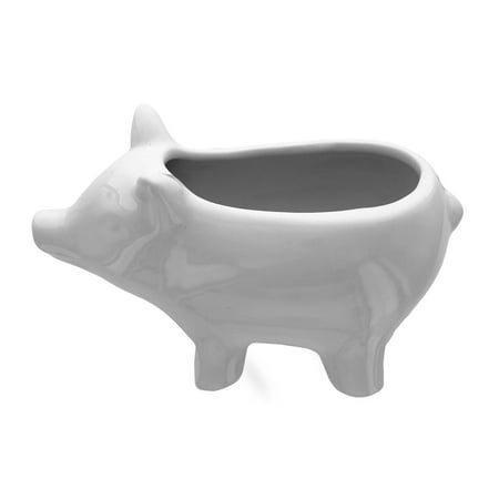 Leisure Arts Ceramic Vase White Pig 3.5