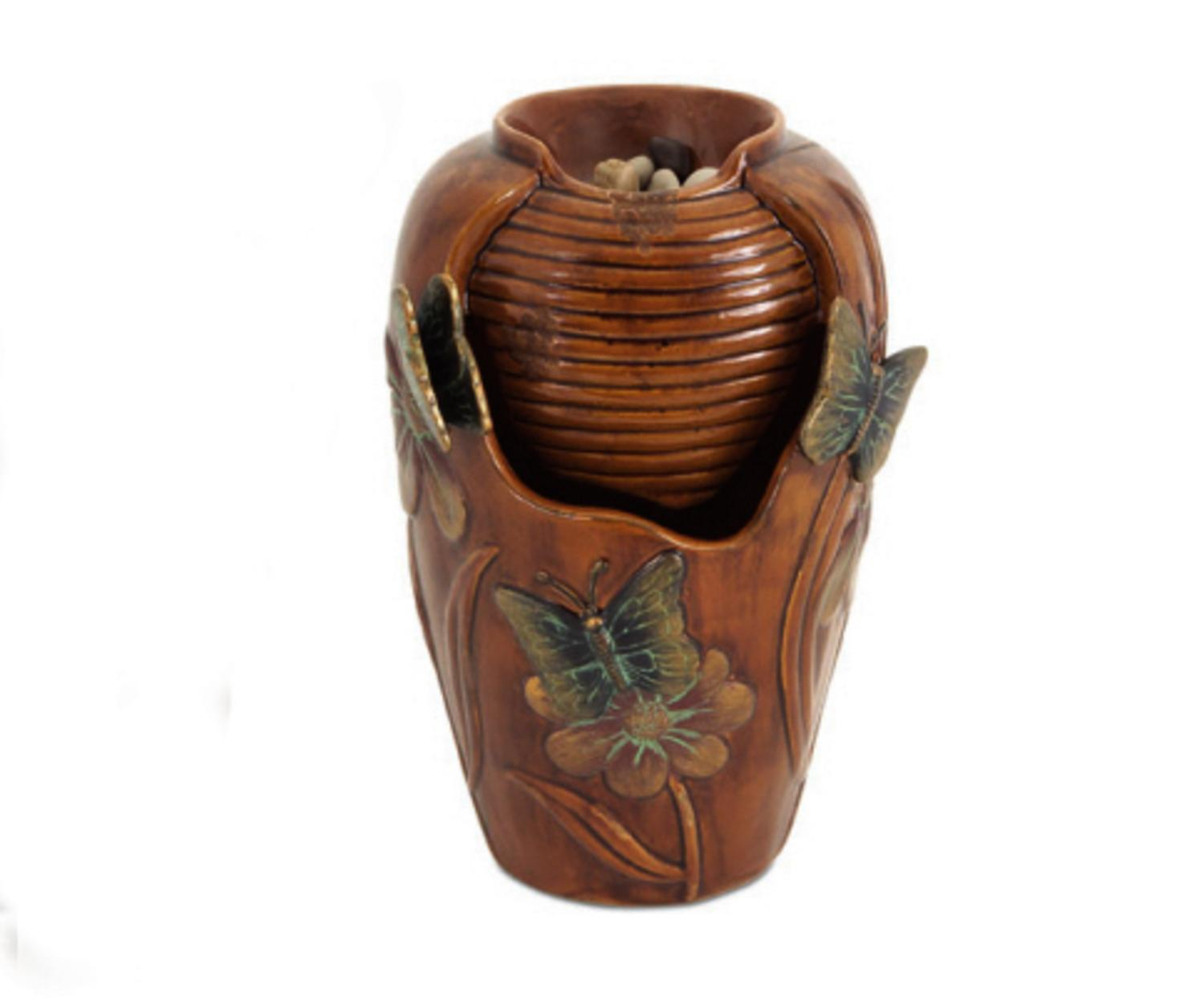 "Click here to buy 10.5"" Brown Butterfly and Flower Indoor Urn Style Water Fountain by Melrose."