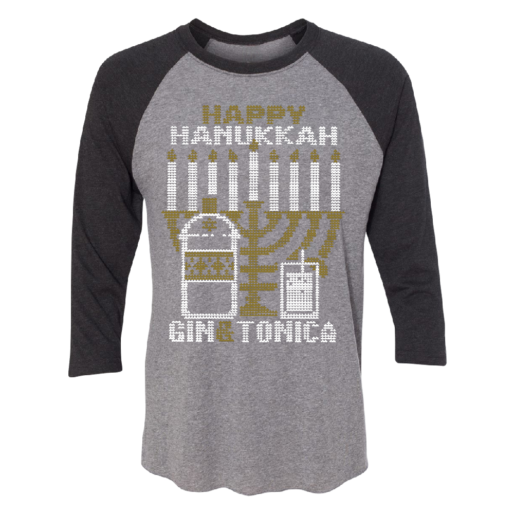 Happy Hanukkah Cin & Tonica 3/4 Raglan Tee Black Heather Grey Small