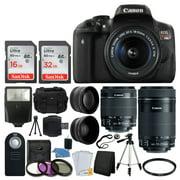 canon eos rebel t6i dslr camera + ef-s 18-55mm is stm lens & ef-s 55-250mm is stm lens + wide angle & 58mm 2x lens + vivitar dc59 gadget bag + wireless remote + slave flash + tripod + deluxe bundle
