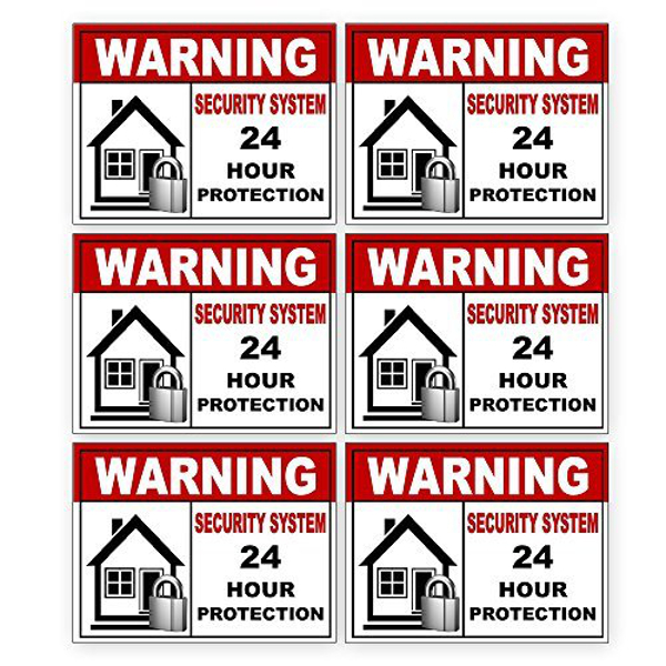 6 Warning Video Surveillance Security Alarm System Sticker Sign Indoor Outdoor by Business Basics