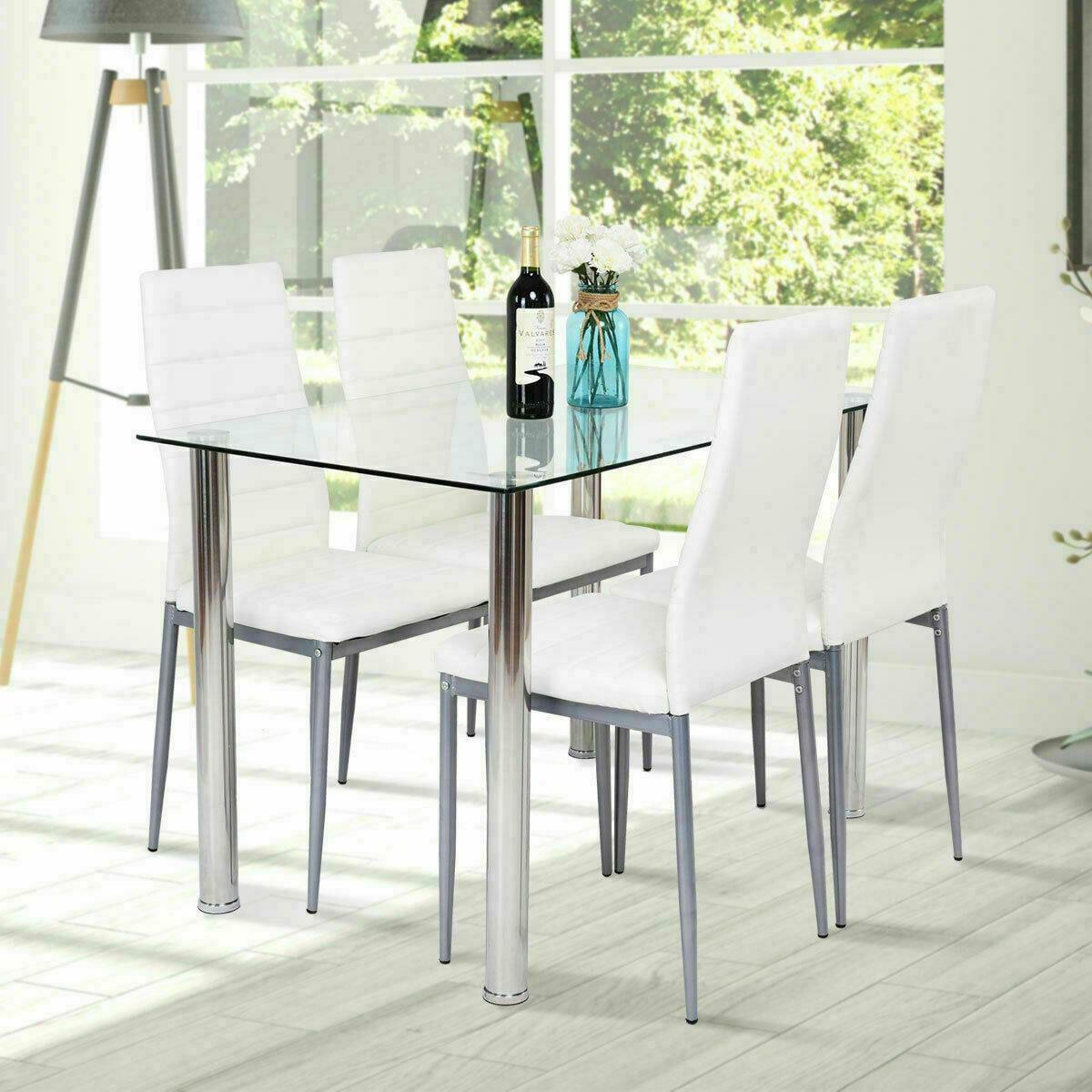 5 Piece Dining Table Set 4 Chairs White Glass Metal Kitchen Furniture Walmart Com Walmart Com