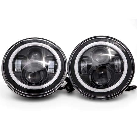 "Krator Pair of 7"" Round LED Headlight w/ Halo Ring Angel for 2011-2013 Jeep Grand Cherokee (Excluding SRT-8) - image 8 de 8"