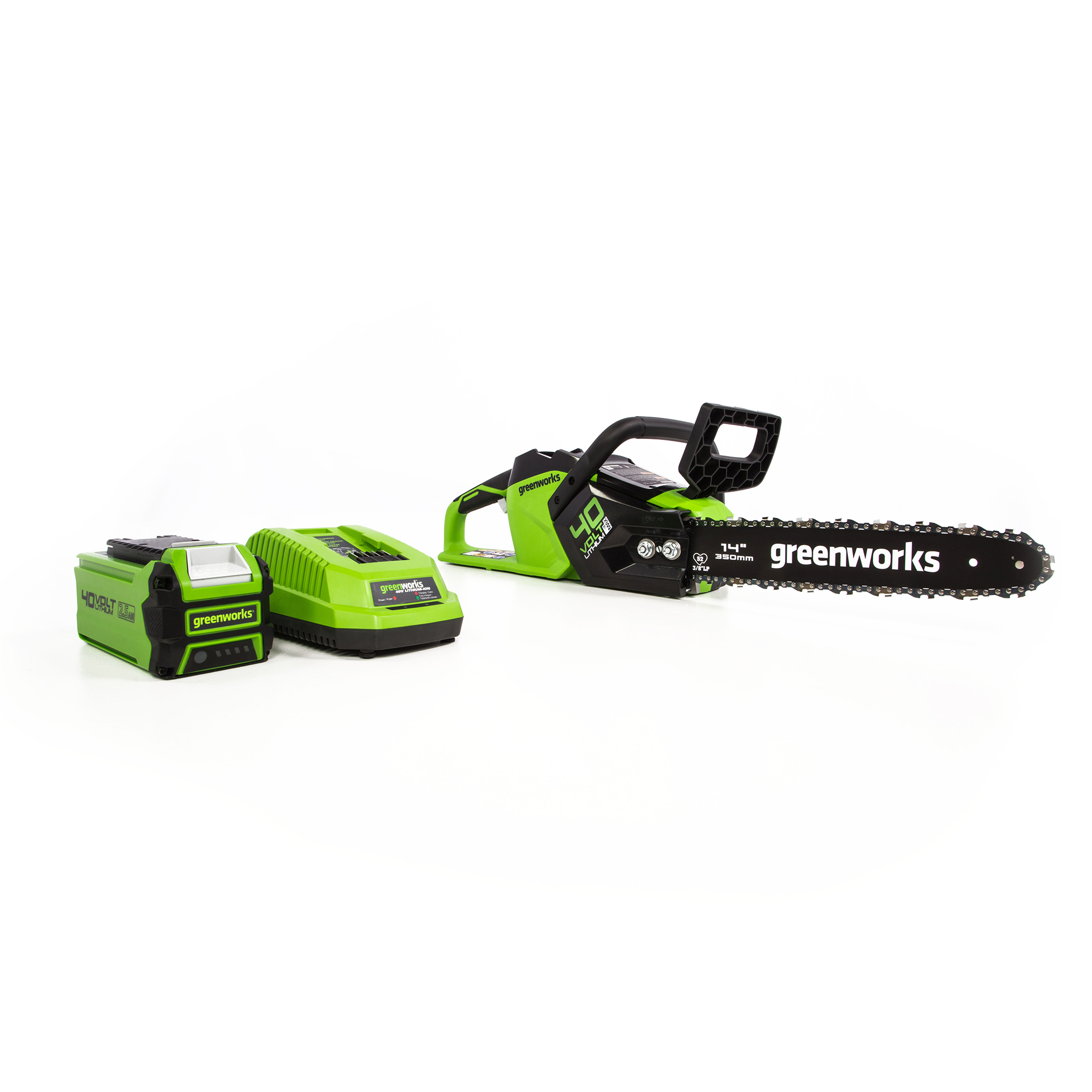 Greenworks 40V 14-Inch Brushless Chainsaw 2.5Ah Battery and Charger Included 2012802 by Sunrise Global Marketing, LLC