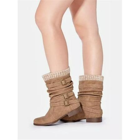 Women Martin Flat Boots Wool Edge Casual Shoes