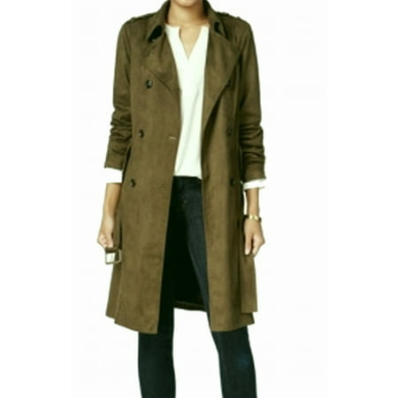 Maison Jules NEW Green Dusty Olive Women's Size XL Trench Coat - Olive Green Fleece