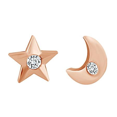 Diamond Star Earrings (Round Shape White Natural Diamond Accent Moon & Star Stud Earrings 10k Solid Rose Gold)