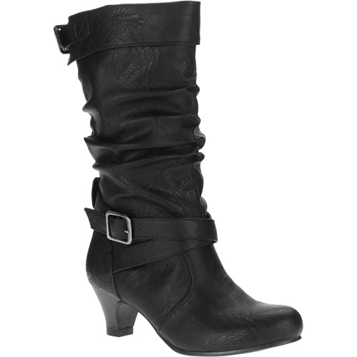 Faded Glory Girls' Reech Slouchy Kitten Heel Boots