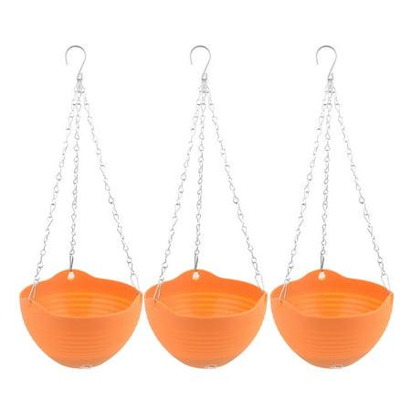 Balcony Garden Yard Chain Hanging Plant Flower Pot Holder Container Orange -