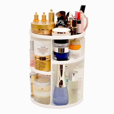 360 Rotating Makeup Organizer, DIY Adjustable Makeup Carousel Spinning Holder Storage Rack, Large Capacity Make up Caddy Shelf Cosmetics Organizer Box, Best for