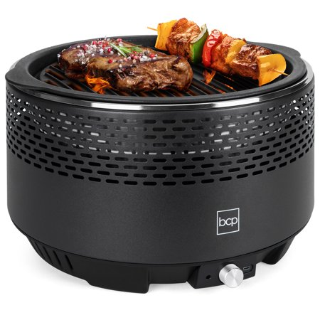 Best Choice Products Portable BBQ Grill for Camping and Outdoor Use, Non-Stick Smokeless Charcoal Cooking with Electric Turbo Fan, Includes Take Anywhere Travel