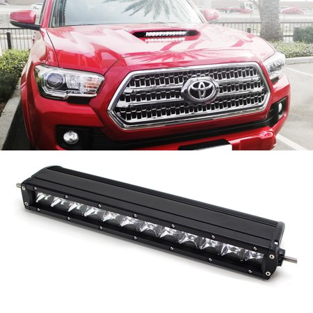 iJDMTOY Super Bright 60W CREE LED Light Bar w/ Mounting Brackets & Wirings On/Off Switch For 2016-up Toyota Tacoma Hood Scoop (ONLY Fit w/ Hood Scoop Bulge (Toyota Tacoma Fan Only Works On High)
