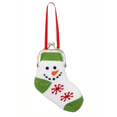 Ganz Snowman Sock Coin Purse Ornament (Green) ()