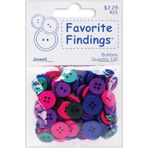 Favorite Findings Basic Buttons Assorted Sizes 130/Pkg-Jewel