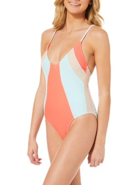 Malibu Dream Girls Juniors Colorblock One Piece Swimsuit