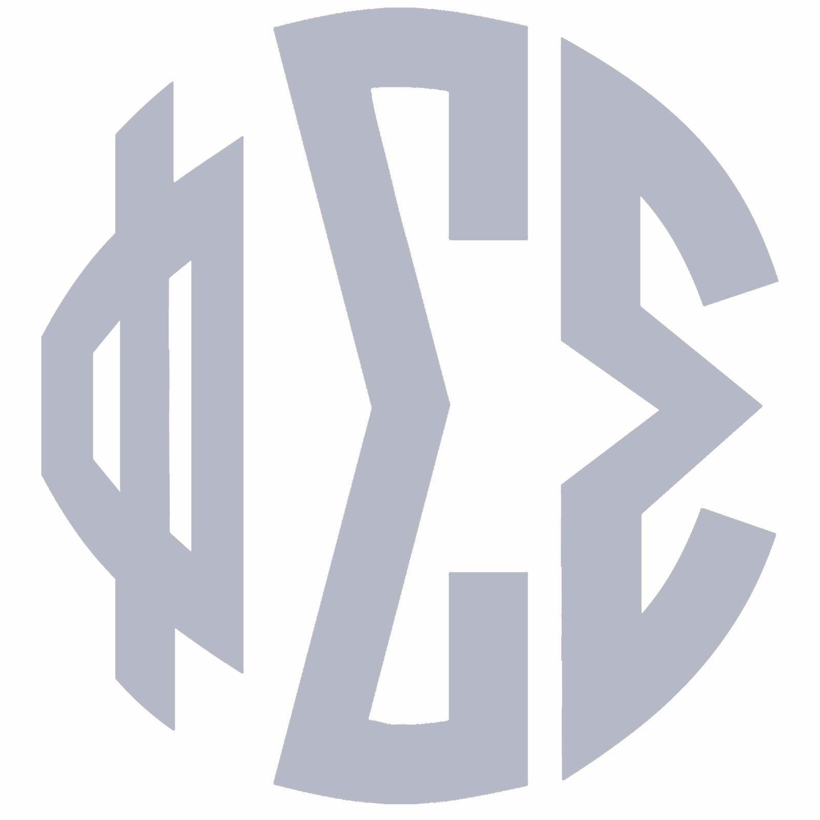 Phi Sigma Sigma Silver Monogram W No Boarder Sticker Outside Car