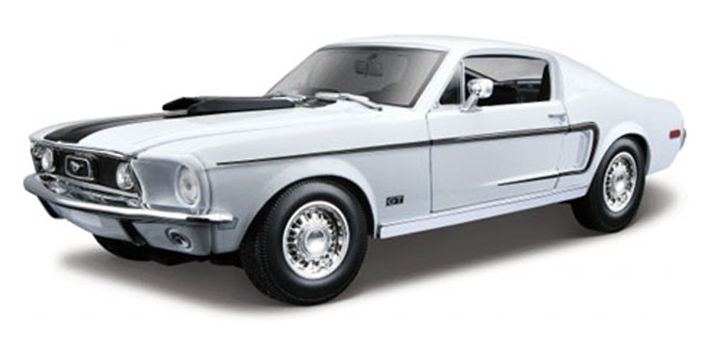 1968 Ford Mustang GT Cobra, White Maisto 31167 1 18 Scale Diecast Model Toy Car by Maisto