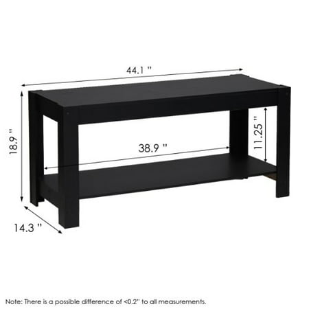 Furinno 12125BK Parsons Entertainment Center Television Stand/Coffee Table, Black