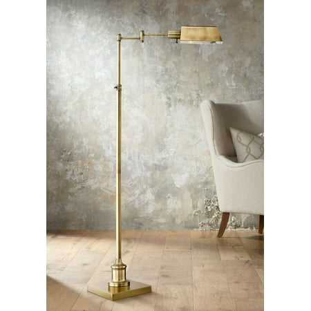 Regency Hill Modern Pharmacy Floor Lamp Aged Brass Adjustable Swing Arm Metal Shade for Living Room Reading Bedroom Office (Boom Arm Floor Lamp)