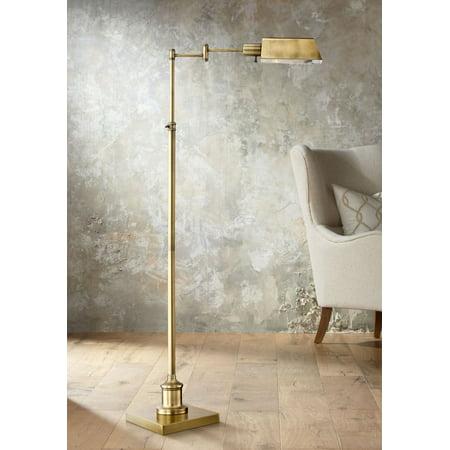 Regency Hill Modern Pharmacy Floor Lamp Aged Brass Adjustable Swing Arm Metal Shade For Living