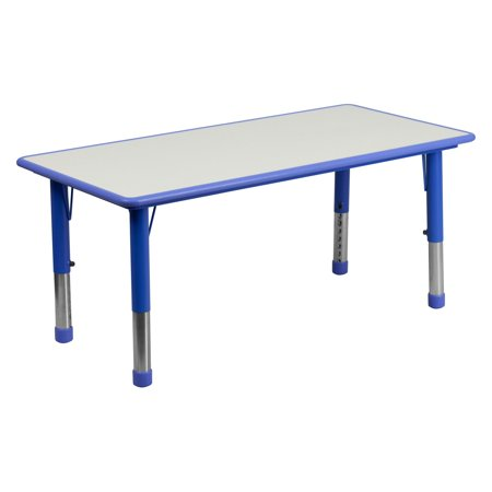 Flash Furniture Height Adjustable Rectangular Plastic Activity Table in Multiple Colors with Grey Top